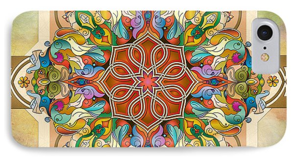 Mandala Birds Phone Case by Bedros Awak