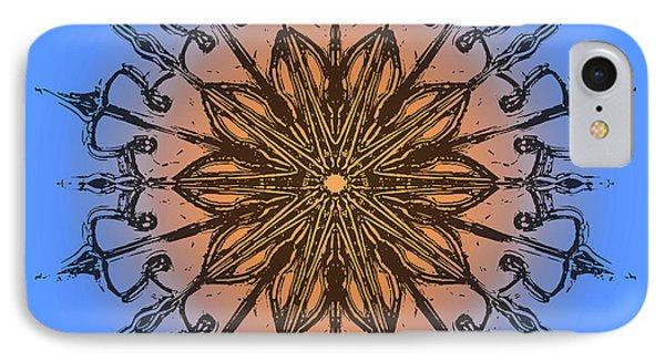 Mandala Black, Blue And Orange IPhone Case by Pablo Franchi