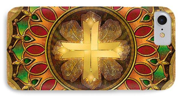 Mandala Illuminated Cross Phone Case by Bedros Awak