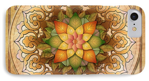 Mandala Leaf Rosette V1 IPhone Case by Bedros Awak