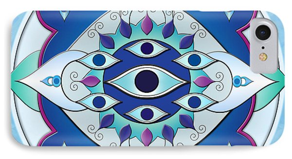 Mandala Of The Seven Eyes Phone Case by Bedros Awak