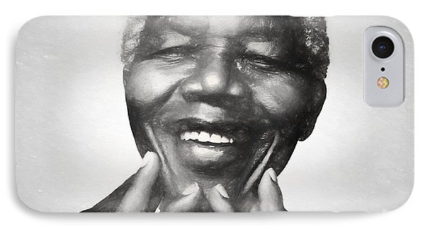 Mandela Charcoal Sketch IPhone Case by Dan Sproul