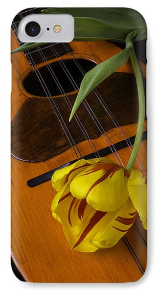 Mandolin With Red And Yellow Tulip IPhone Case by Garry Gay