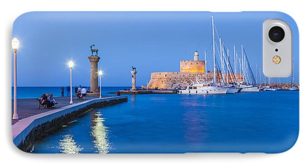Mandraki Harbour At Night IPhone Case by Werner Dieterich