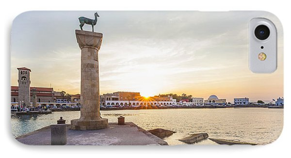 Mandraki Harbour At Sunset IPhone Case by Werner Dieterich