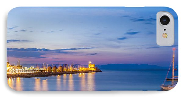 Mandraki Harbour At Twilight IPhone Case by Werner Dieterich