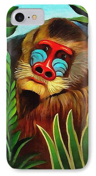 Mandrill In The Jungle IPhone Case by Henri Rousseau
