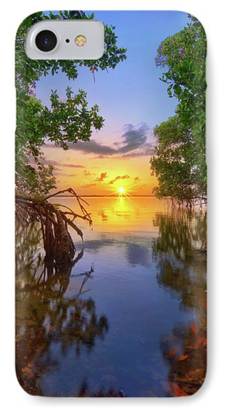 Mangrove Sunset From Jensen Beach Florida IPhone Case by Justin Kelefas