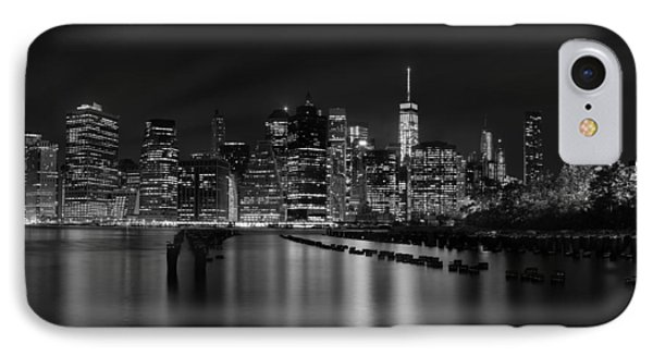 Manhattan At Night In Black And White IPhone Case