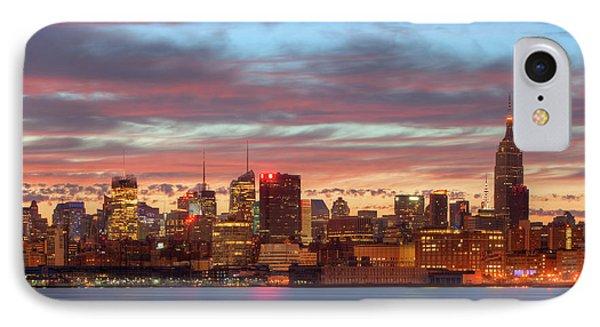 Manhattan Dawn Skyline I Phone Case by Clarence Holmes