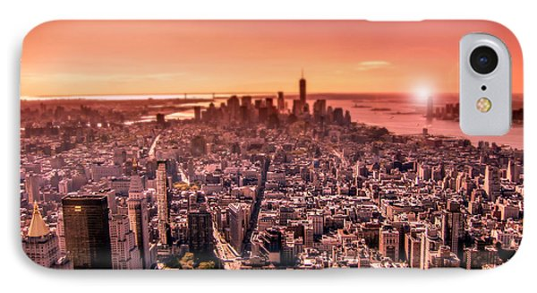 Manhattan In Red IPhone Case by Nicklas Gustafsson