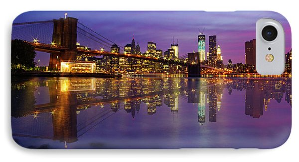 IPhone Case featuring the photograph Manhattan Reflection by Mircea Costina Photography