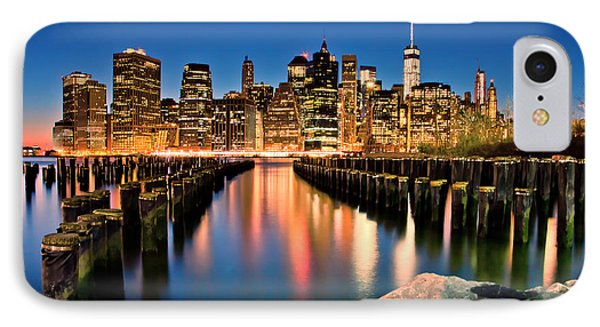 Manhattan Skyline At Dusk IPhone Case by Az Jackson