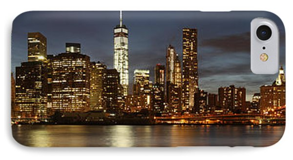 IPhone Case featuring the photograph Manhattan Skyline At Night - Panorama by Nathan Rupert