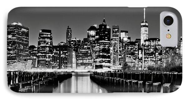 Manhattan Skyline Bw IPhone Case by Az Jackson