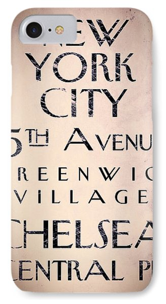 Manhattan Street Sign IPhone Case by Mindy Sommers