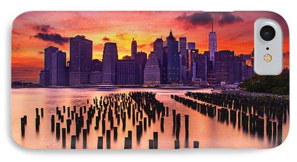 Manhattan Sunset IPhone Case by Rima Biswas