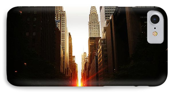 Manhattanhenge Sunset Over The Heart Of New York City IPhone Case by Vivienne Gucwa