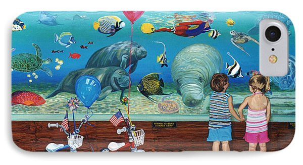 Manitee Aquarium With My Twins IPhone Case by Bonnie Siracusa