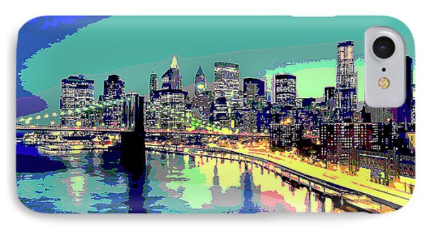 Manttan At Night IPhone Case by Charles Shoup