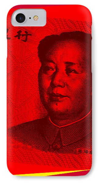 IPhone Case featuring the digital art Mao Zedong Pop Art - One Yuan Banknote by Jean luc Comperat