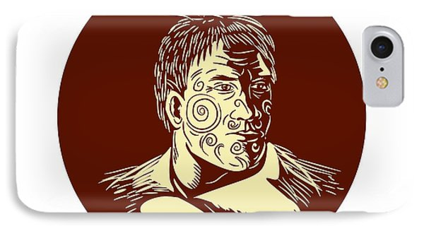 Maori Chieftain Head Oval Woodcut IPhone Case by Aloysius Patrimonio