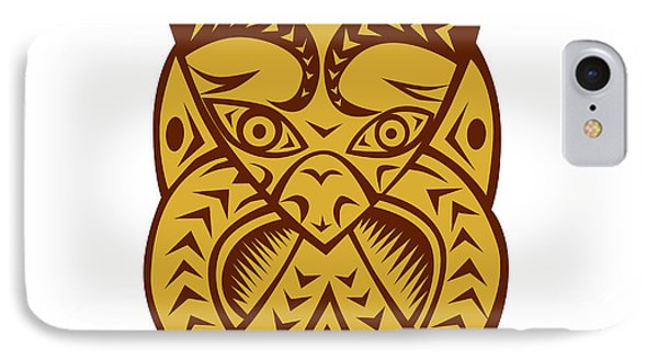 Maori Mask Woodcut IPhone Case by Aloysius Patrimonio