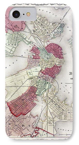 Map: Boston, 1865 Phone Case by Granger