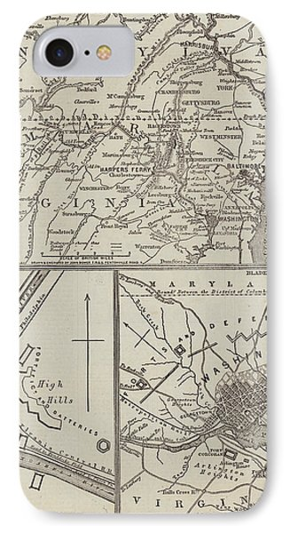 Map Illustrating General Lee's Advance Into Pennsylvania  IPhone Case by John Dower