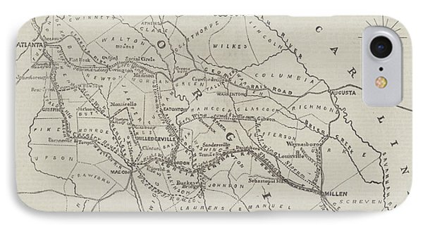 Map Illustrating General Sherman's March Through Georgia  IPhone Case by John Dower
