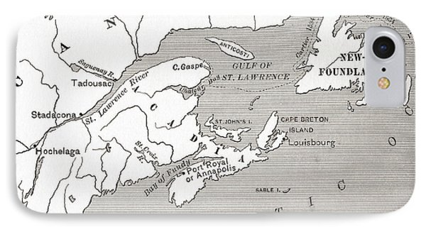 Map Of Acadia, 17th Century Colony Of New France In Canada IPhone Case by American School