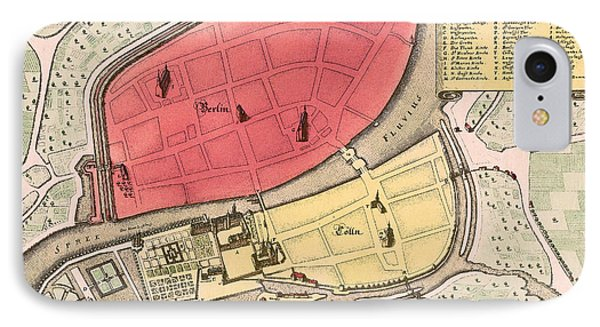 Map Of Berlin 1652 IPhone Case by Andrew Fare