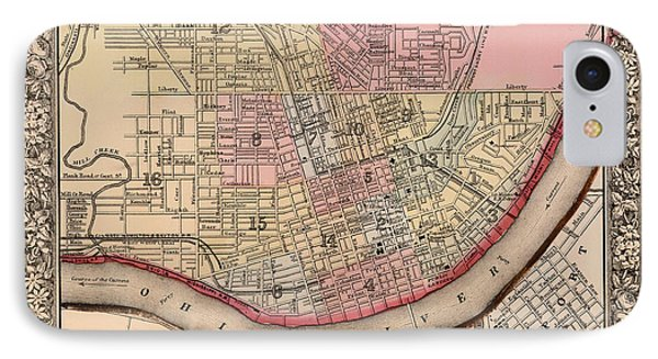 Map Of Cincinnati Ohio 1864 IPhone Case by Mountain Dreams