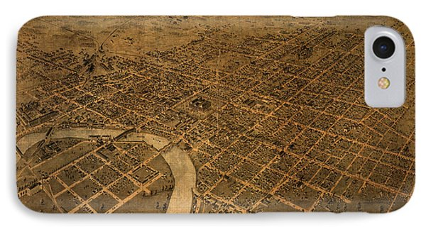 Map Of Columbus Ohio Vintage Street Schematic Birds Eye View On Worn Parchment IPhone Case by Design Turnpike
