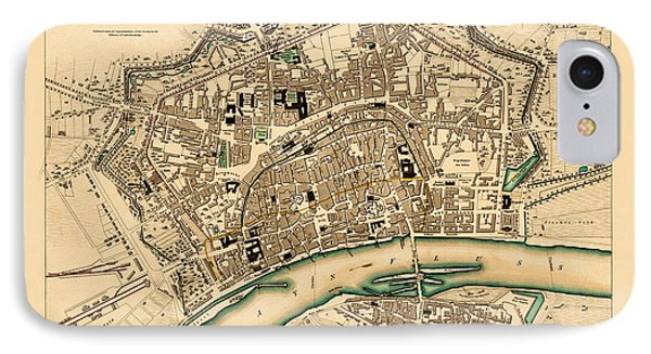 Map Of Frankfurt 1853 IPhone Case by Andrew Fare