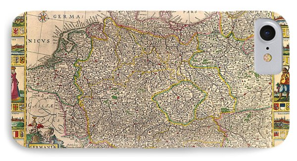 Map Of Germany 1630 IPhone Case by Andrew Fare
