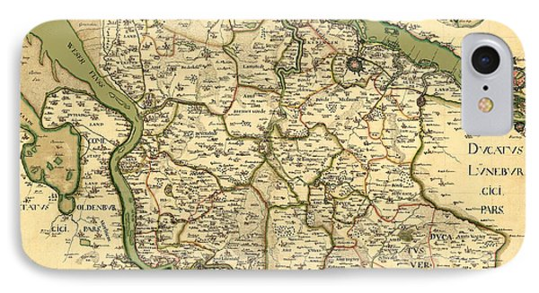 Map Of Germany 1750 IPhone Case by Andrew Fare