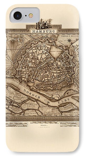 Map Of Hamburg 1803 IPhone Case by Andrew Fare