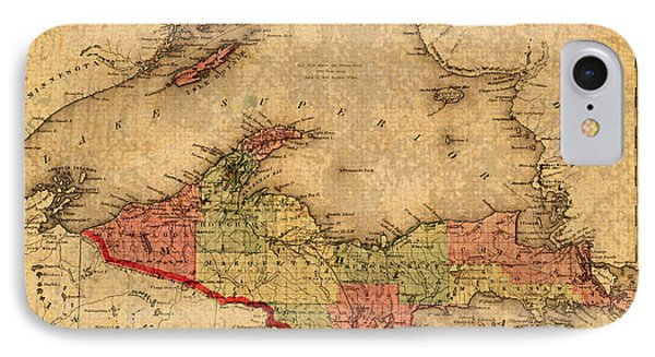 Map Of Michigan Upper Peninsula And Lake Superior Vintage Circa 1873 On Worn Distressed Canvas  IPhone Case