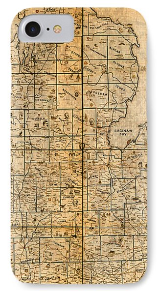 Map Of Michigan Vintage Railroad Train Routes Hand Drawn On Worn Distressed Old Canvas IPhone Case by Design Turnpike