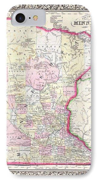 Map Of Minnesota 1864 IPhone Case