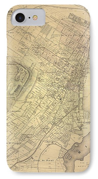 Map Of Montreal 1875 IPhone Case by Andrew Fare