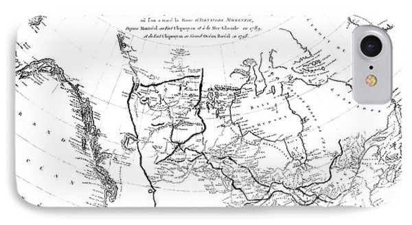 Map Of North America, Plotting The Expeditions Of Sir Alexander Mackenzie In 1789 And 1798 To The Ar IPhone Case by French School
