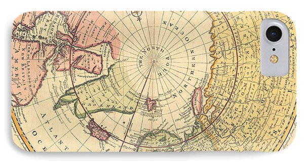 Map Of North Pole IPhone Case by Emanuel Bowen