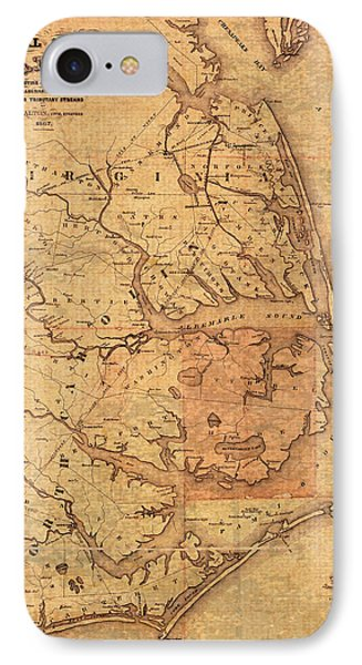 Map Of Outer Banks North Carolina Dismal Swamp Canal Currituck Albemarle Pamlico Sounds Circa 1867  IPhone Case by Design Turnpike