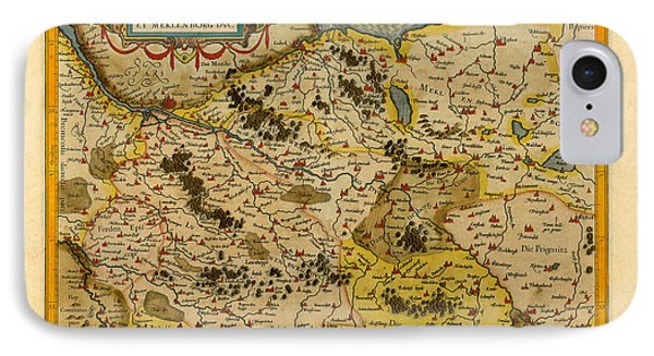 Map Of Saxony 1613 IPhone Case by Andrew Fare