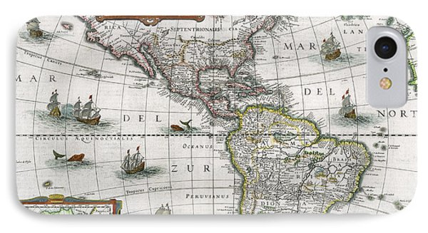 Map Of The Americas Phone Case by Henricus Hondius