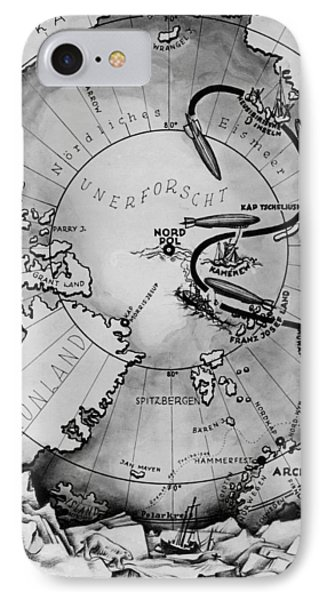Map Of The Arctic Voyage Of The Airship Lz 127 Graf Zeppelin, 1931 IPhone Case