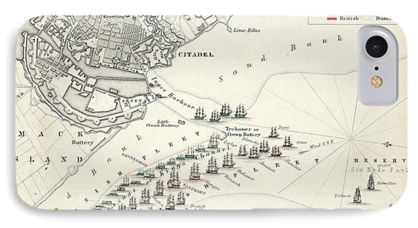 Map Of The Battle Of Copenhagen IPhone Case by Alexander Keith Johnston