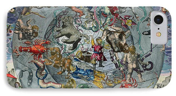 Map Of The Constellations Of The Northern Hemisphere Phone Case by Andreas Cellarius
